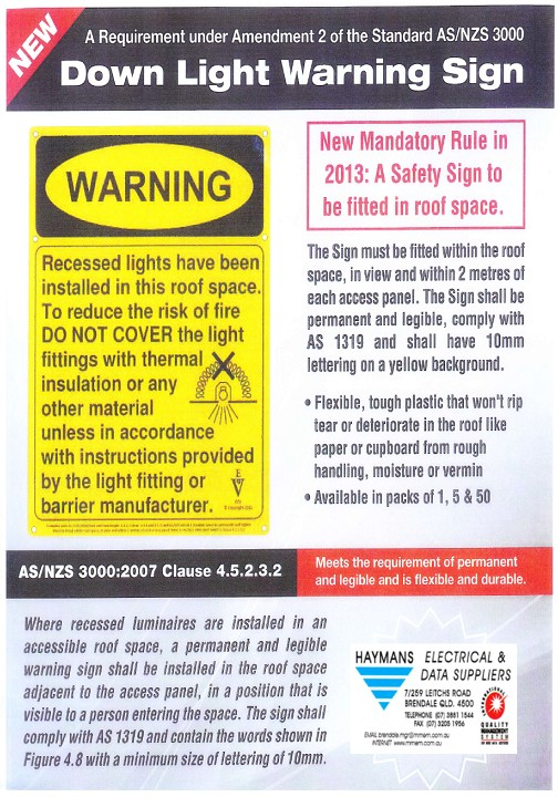 downlight warning signs