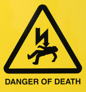 electrical shock warning sign