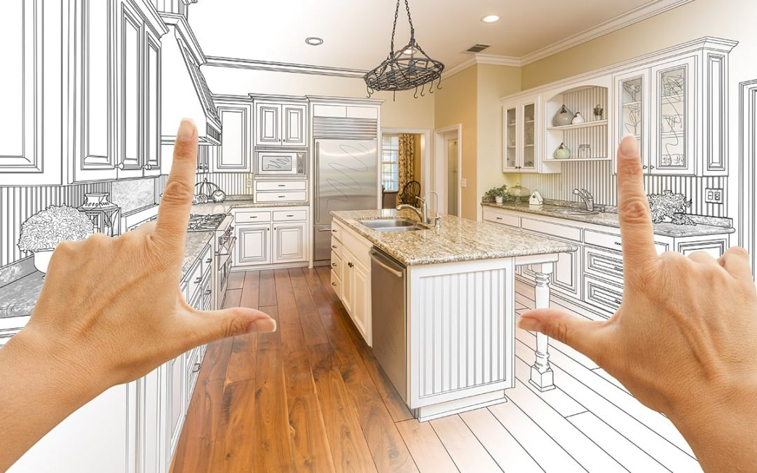 An illustration that shows a kitchen on a drawing board. Two hand create a view frame. Within that view frame the kitchen comes to live as a photo.